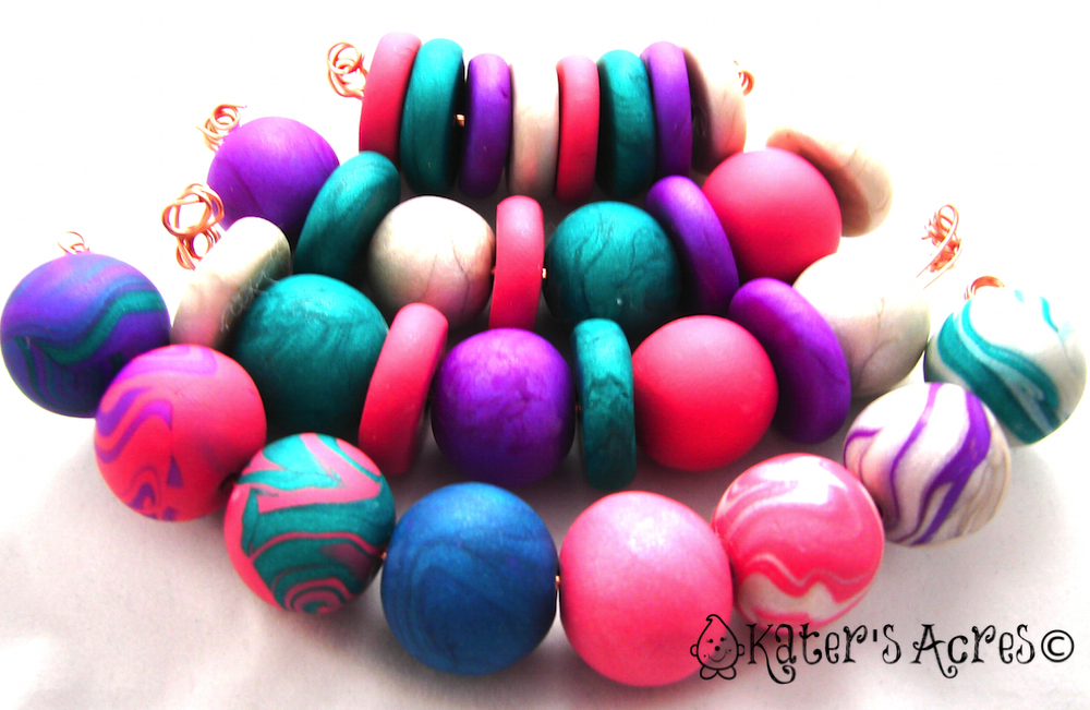 Polymer Clay Bead Samples for Intro to Bead Making for Beginners by KatersAcres