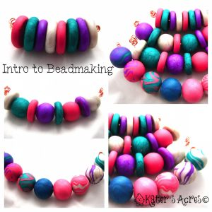 Handmade Polymer Clay Bead examples for Introduction to Bead Making Course by KatersAcres