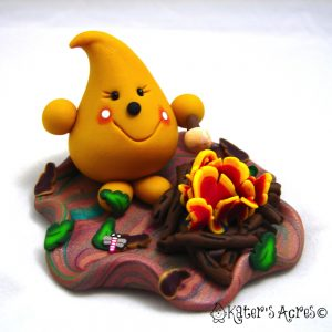 Bon Fire S'mores Parker StoryBook Scene made from polymer clay. Available for Adoption by KatersAcres