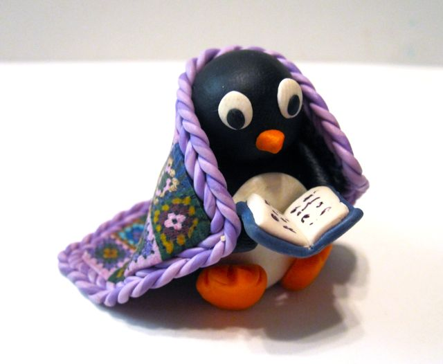 Polymer Clay Penguin Sculpture by Meg Newburg
