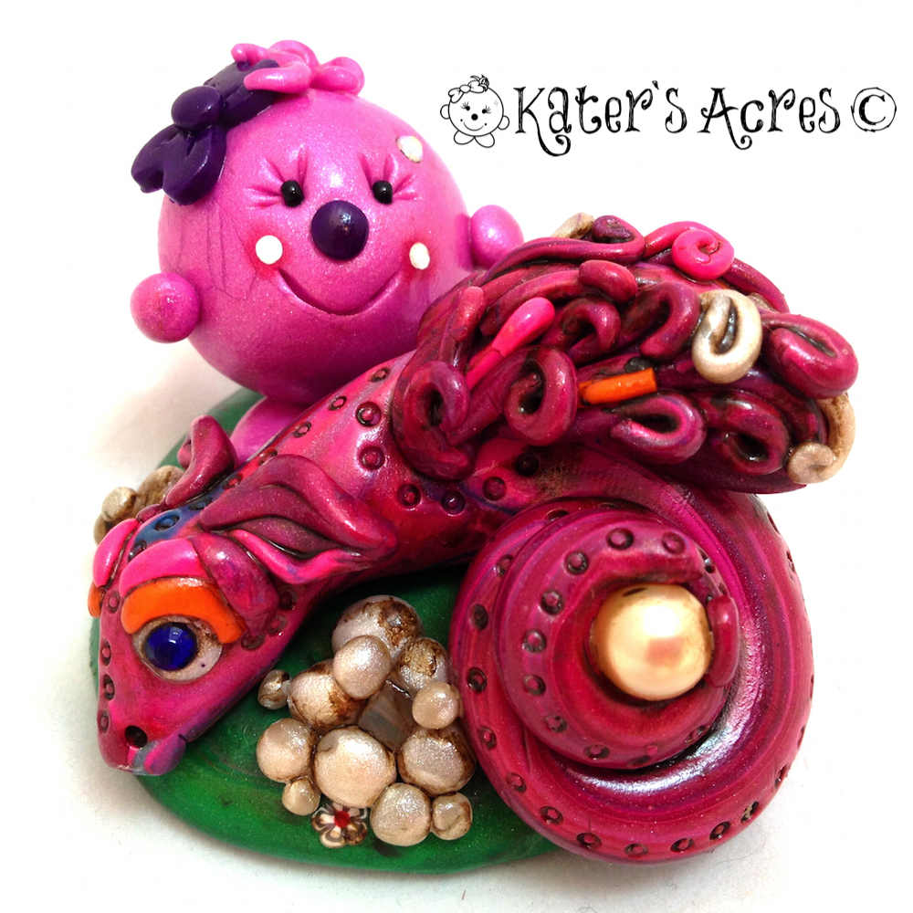 Lolly and the Pearl Dragon Polymer Clay Character http://katersacres.com