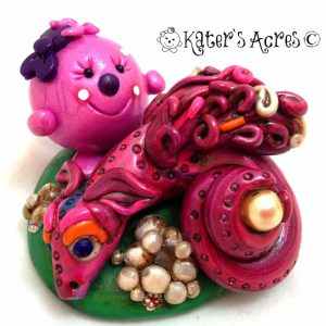 Lolly & the Pearl Dragon polymer clay figurine http://katersacres.com