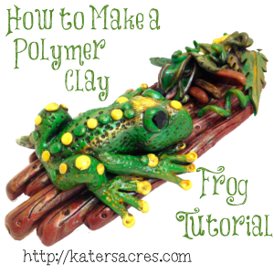 How to Make a Polymer Clay Frog Tutorial by @KatersAcres on https://katersacres.com