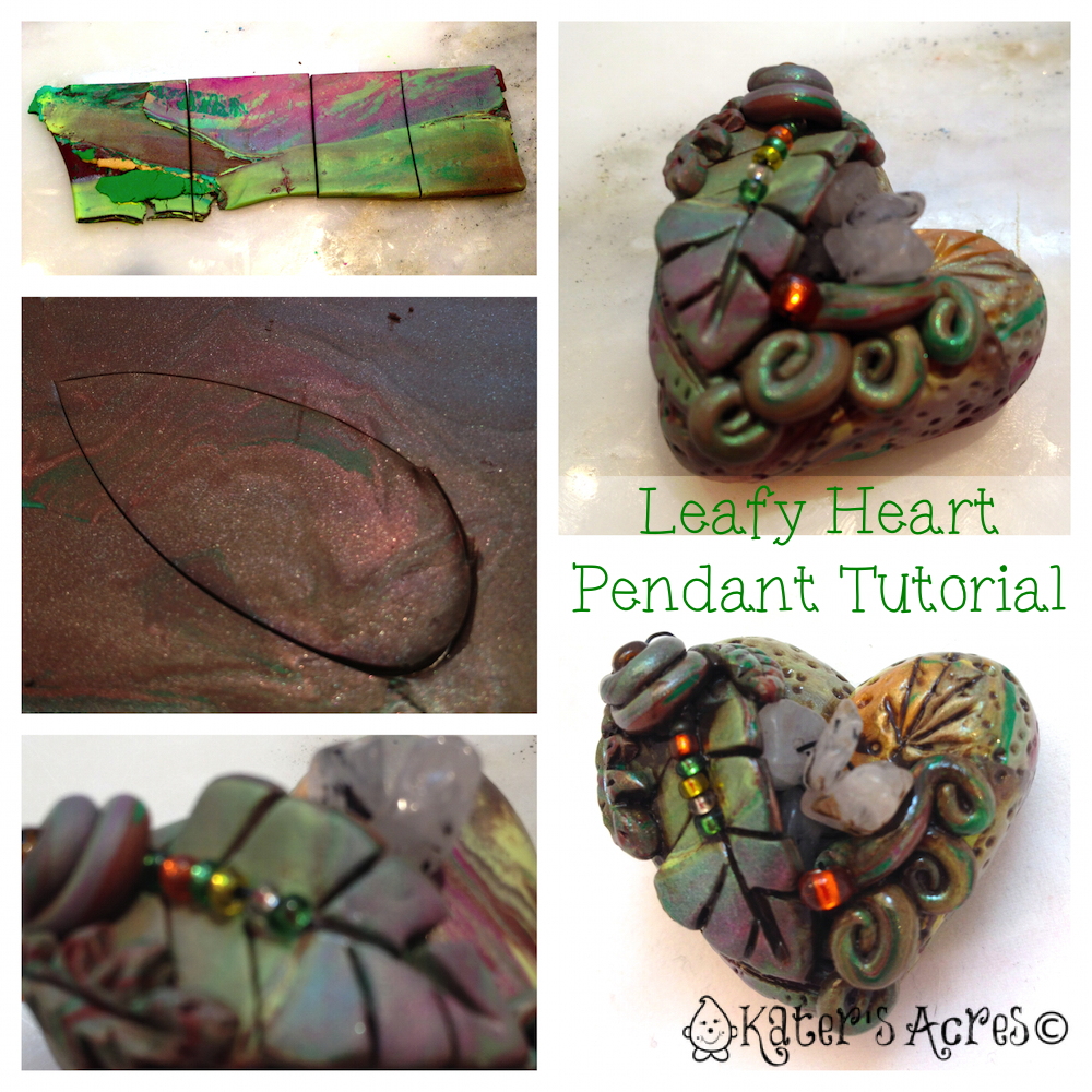 Polymer clay tutorial for christi friesen style bug heart pendant how to add leaves to your heart christi friesen style by katersacres https aloadofball Images