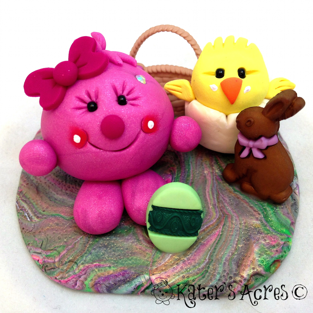 Easter Lolly StoryBook Scene - Handmade Polymer Clay Figurine by KatersAcres
