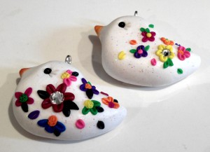 Embroidered Bird Pendants Tutorial by KatersAcres