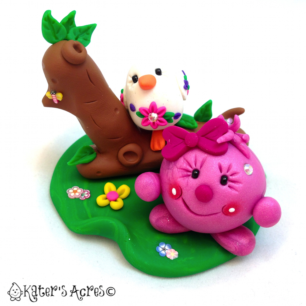 Lolly & Bird Polymer Clay StoryBook Scene Figurine by KatersAcres