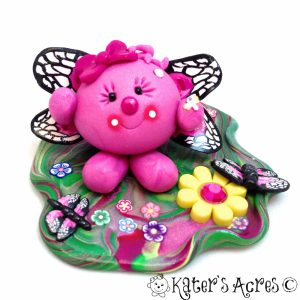 Butterfly Lolly StoryBook Scene Handmade Polymer Clay Figurine from KatersAcres
