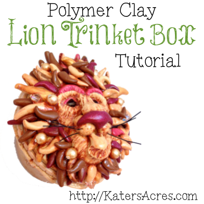 Lion Polymer Clay Trinket Box Tutorial by KatersAcres