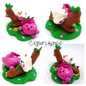 Lolly with Bird Polymer Clay StoryBook Scene by KatersAcres