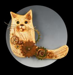 SwishTail Cat Brooch by Christi Friesen