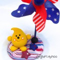 Patriotic Pinwheel Parker StoryBook Scene by KatersAcres | Limited Edition Collectible Handmade Mixed Media Figurine