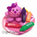 Back to School Lolly Polymer Clay Figurine by KatersAcres | Perfect home decor collectible or cake topper