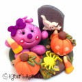 Halloween Lolly in a Graveyard Polymer Clay StoryBook Scene by KatersAcres | Mixed Media Polymer Clay Sculpture