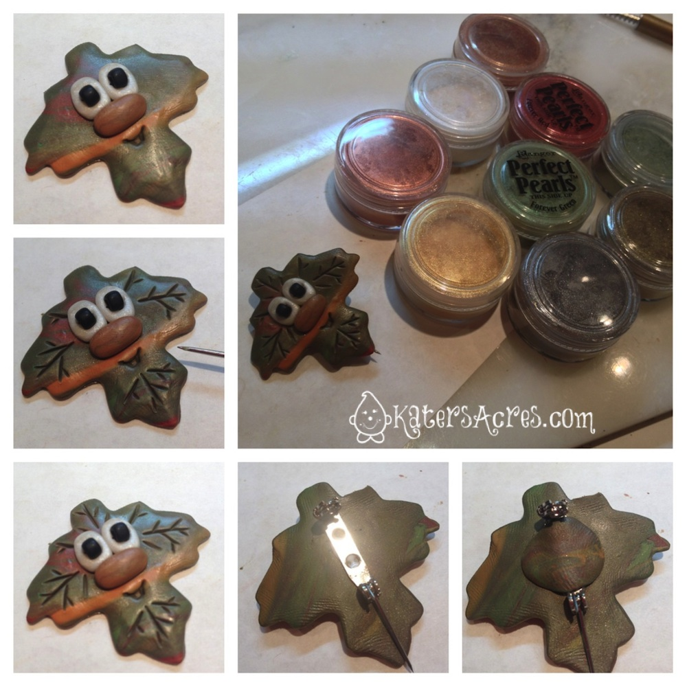 Adding the Details to Your Polymer Clay Leaf Pin Tutorial by KatersAcres