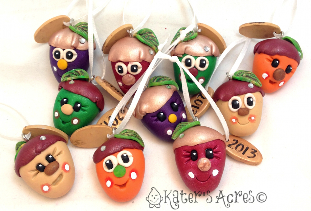 Polymer Clay Acorn Ornaments by KatersAcres
