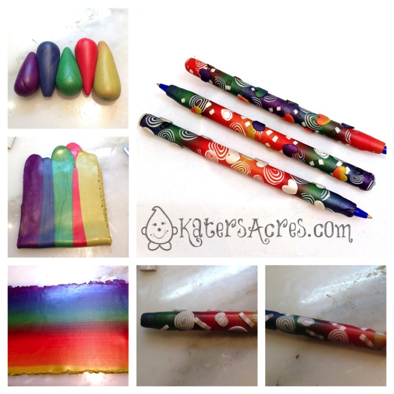 Polymer Clay Rainbow Blend Pen Tutorial by KatersAcres