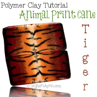 Animal Print Tiger Cane Tutorial by KatersAcres | More FREE tutorials for polymer clay available!