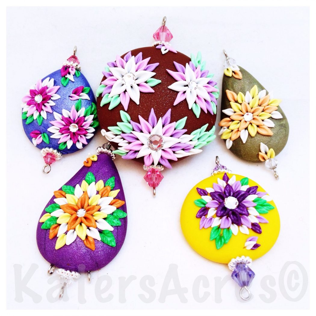 Embroidery Styled Polymer Clay Pendants Made with Scrap Clay by KatersAcres