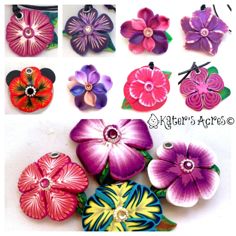 Millefiori Caned Flower Pendants by KatersAcres