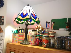 Kater's Acres Stained Glass Lamp & Reclaimed Materials | Making the Most of Your Polymer Clay Studio