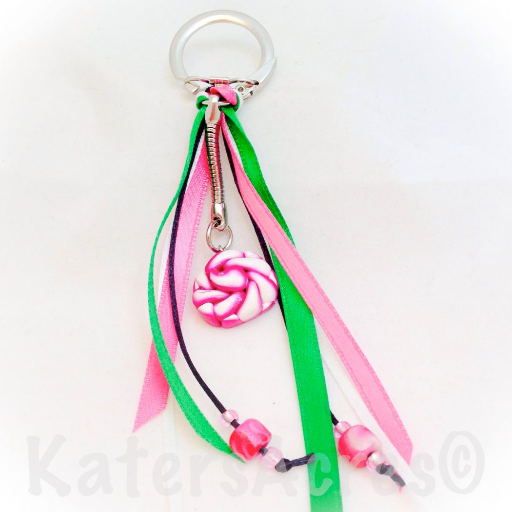 Caned Rose Keychain made with Scrap Clay by KatersAcres