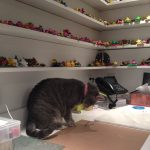 "Smokie ""helping"" in KatersAcres polymer clay studio"