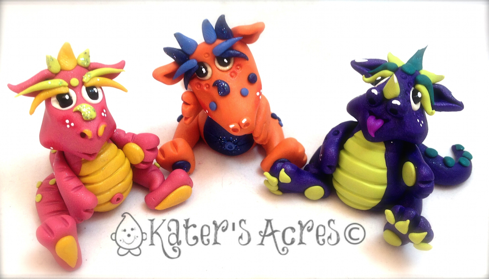 Polymer Clay Dragons by KatersAcres