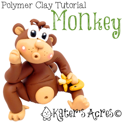 Polymer Clay Monkey Tutorial by KatersAcres | For Fondant, Sugar Paste, or Other Sculpting Mediums