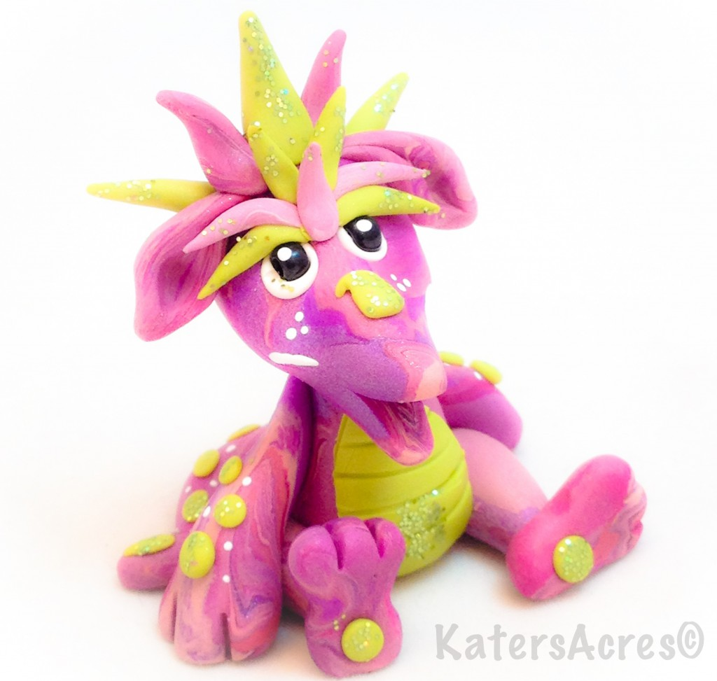 "Polymer Clay Dragon ""Pinkie"" by KatersAcres"