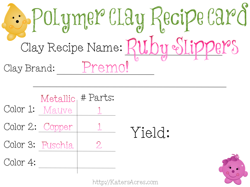 FREE Polymer Clay Color Recipe Card for Ruby Slippers by KatersAcres   Find Out How to Make This Unique Color