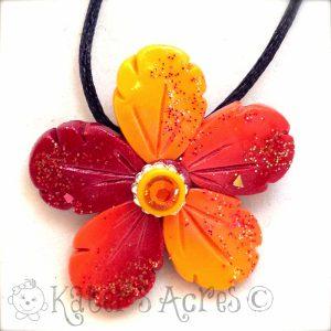 Festive Fall Skinner Blend Flower Necklace by KatersAcres