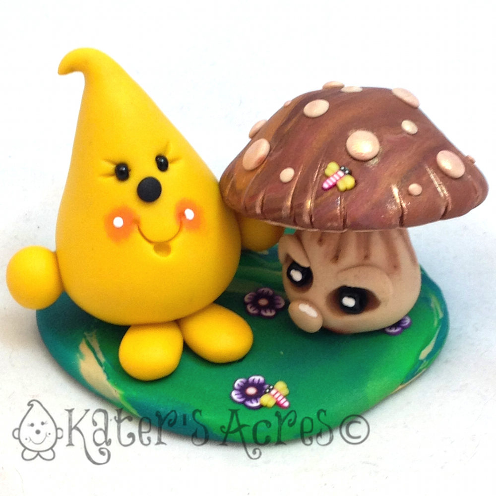 Parker & Autumn Spirit Mushroom Figurine by KatersAcres