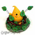 Leaf Pile Parker StoryBook Scene | Polymer Clay Autumn Figurine