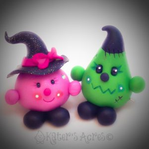 Parker & Lolly Halloween Figurines | Frankenstein & Witch by KatersAcres