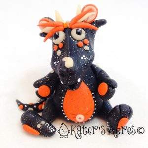 Hallow S. Eve Polymer Clay Halloween Dragon by KatersAcres