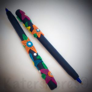 "Polymer Clay Flower Pens by KatersAcres | Inspired by 2GoodClaymates ""Brilliant Blooms"""