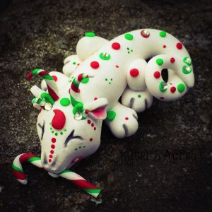 Polymer Clay Christmas Dragon, Miracle, by KatersAcres