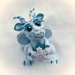 Polymer Clay Dragon, Snowflake by KatersAcres | Ready for adoption in my Etsy store