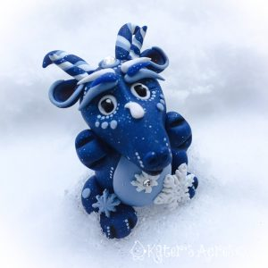 Blizzard, Winter Series Polymer Clay Dragon by KatersAcres
