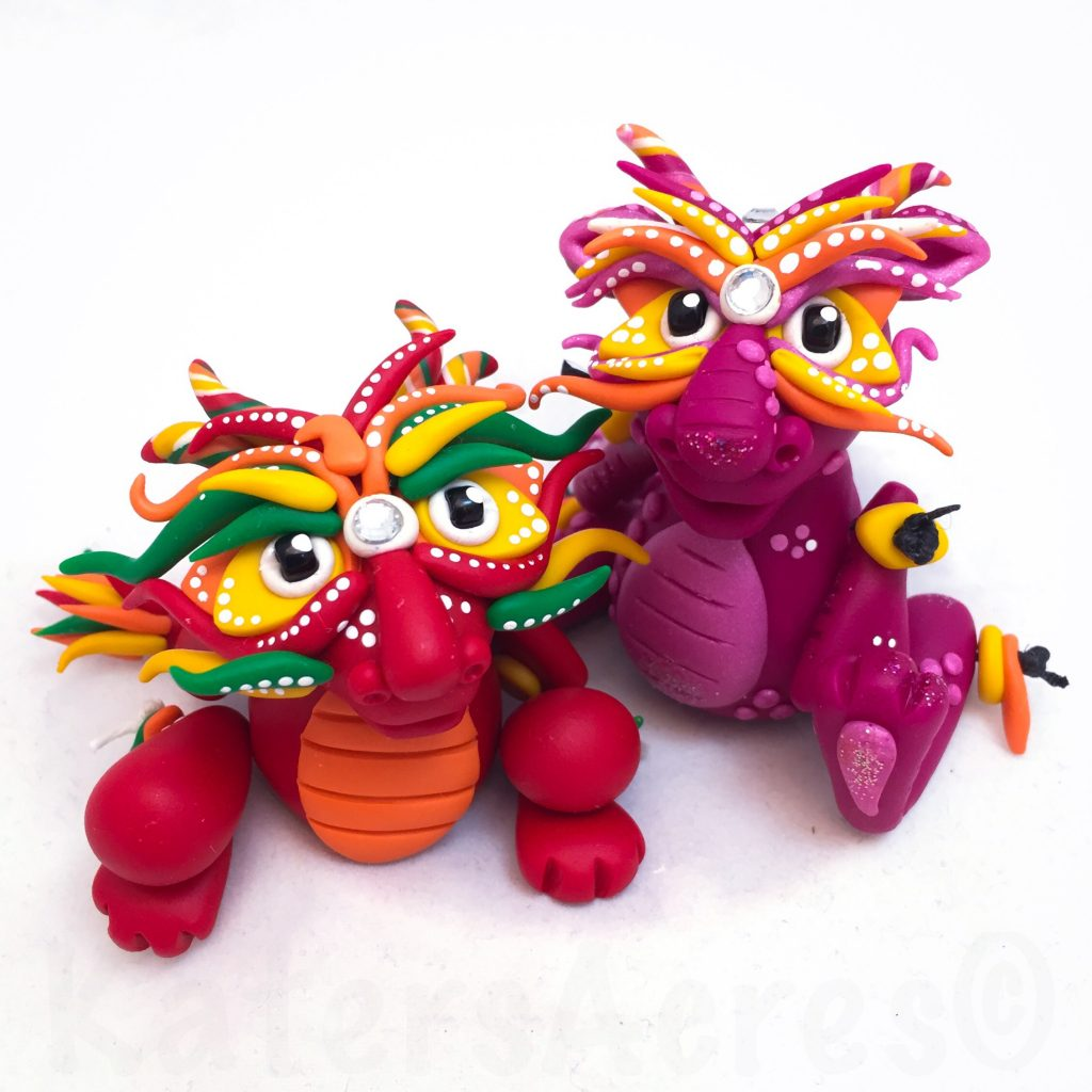 Polymer Clay Chinese Inspired Dragon by KatersAcres