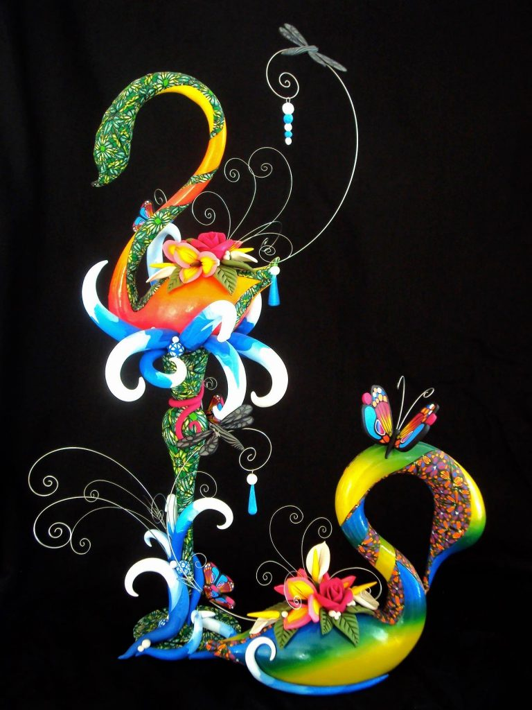 """Laura Schiller's """"Nature on the Surface of the Water""""   Polymer Clay Art Sculpture"""