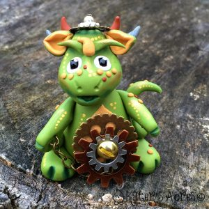 "Polymer Clay Steampunk Dragon ""Oliver"" by KatersAcres"