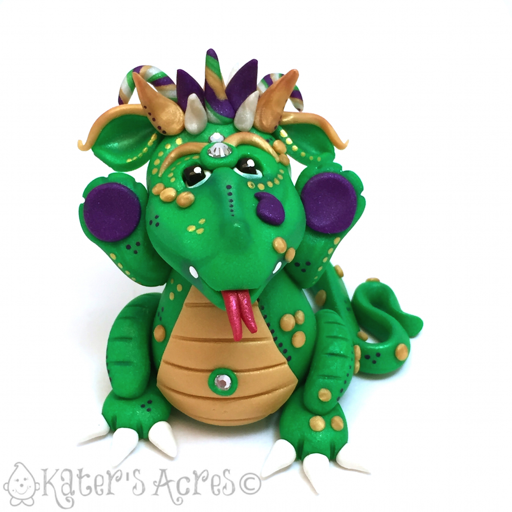 "Polymer Clay MARDI GRAS Dragon, ""Gras,"" Handmade by KatersAcres"