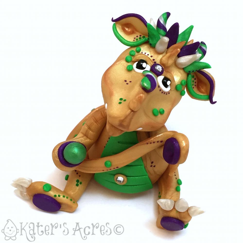 "Polymer Clay MARDI GRAS Dragon, ""Nola,"" Handmade by KatersAcres"