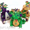 Polymer Clay MARDI GRAS Dragons, Handmade by KatersAcres