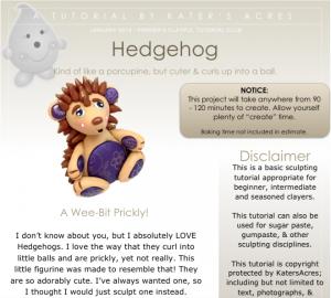 Polymer Clay Hedgehog Tutorial Preview