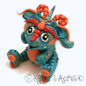 FrostFire, Polymer Clay Collectible Dragon | Handmade in USA by KatersAcres