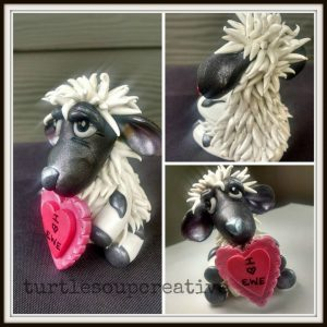 Polymer Clay Sheep with Heart by Andrea Rivers | Second Prize Winner of the PCT Challenge for KatersAcres