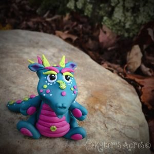 Handmade polymer clay dragon, Amoré by KatersAcres